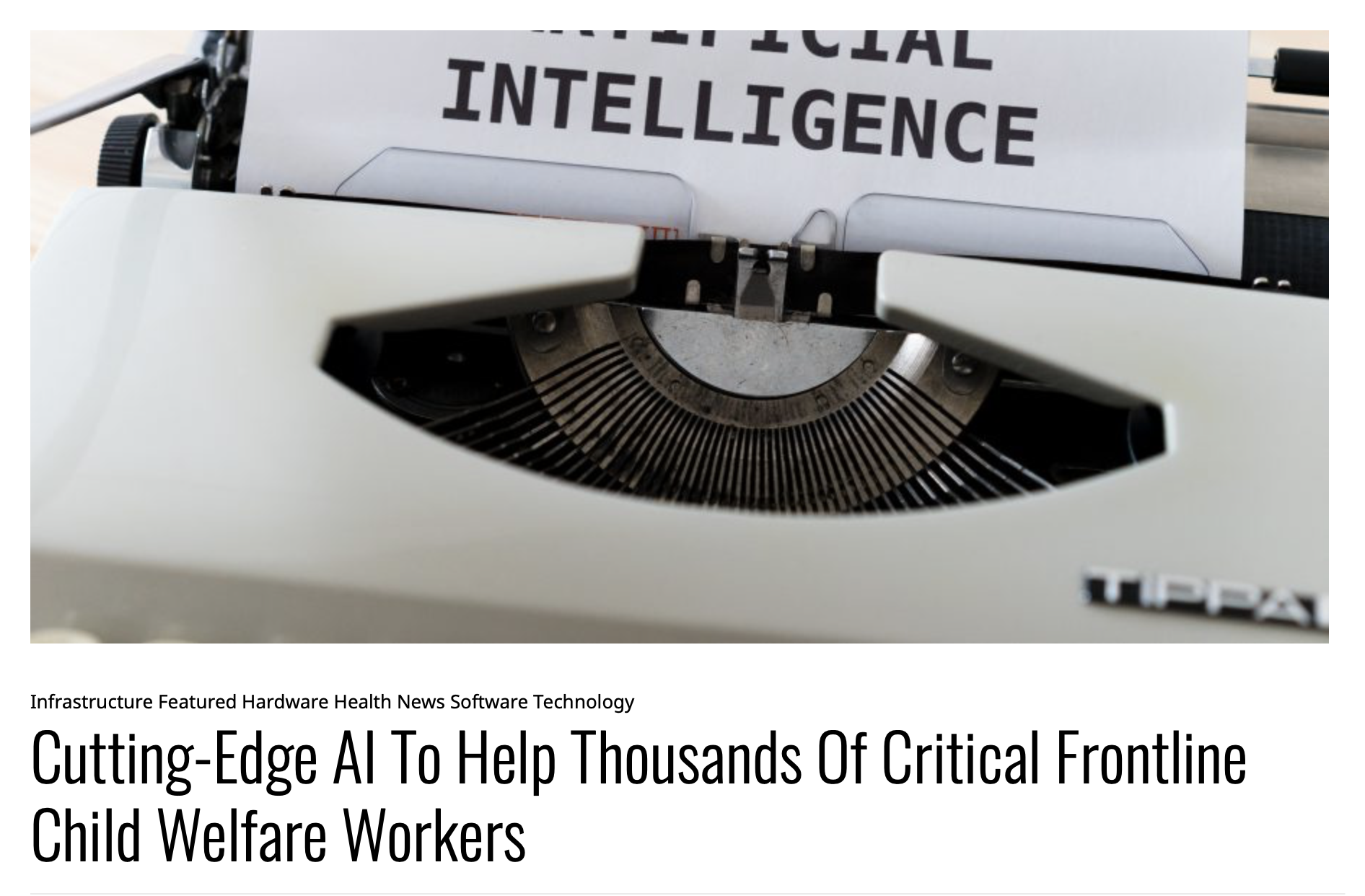 Cutting-Edge AI To Help Thousands Of Critical Frontline Child Welfare Workers